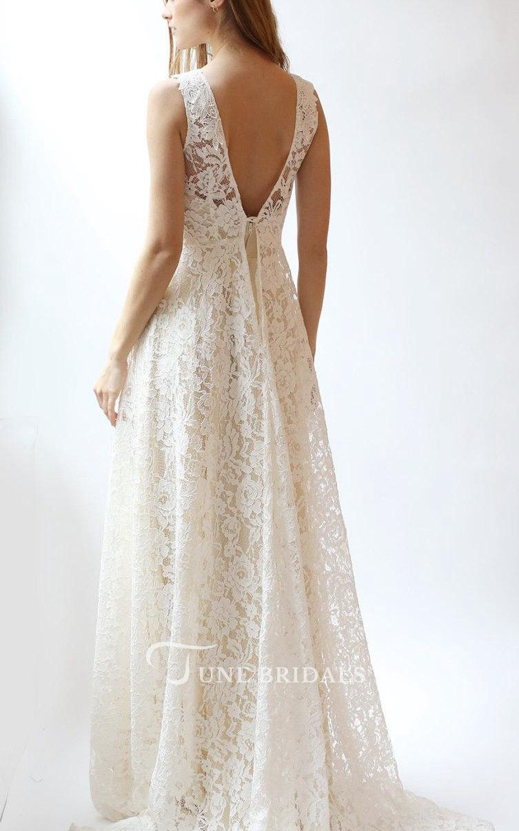 Jewel neck sleeveless aline rose lace wedding dress w e d d i n g