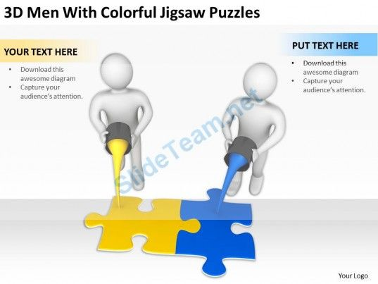 D Men With Colorful Jigsaw Puzzle Ppt Graphics Icons Powerpoint