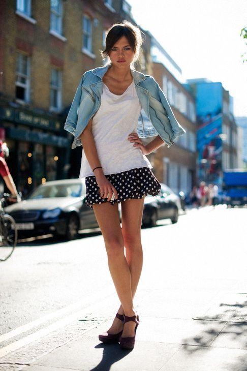 Polka dots skirt, denim coat and simple white shirt