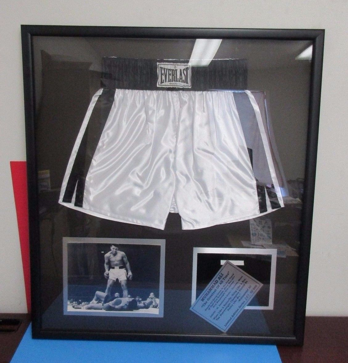 Muhammad Ali Autographed Framed Signed White Everlast Boxing Trunks ...