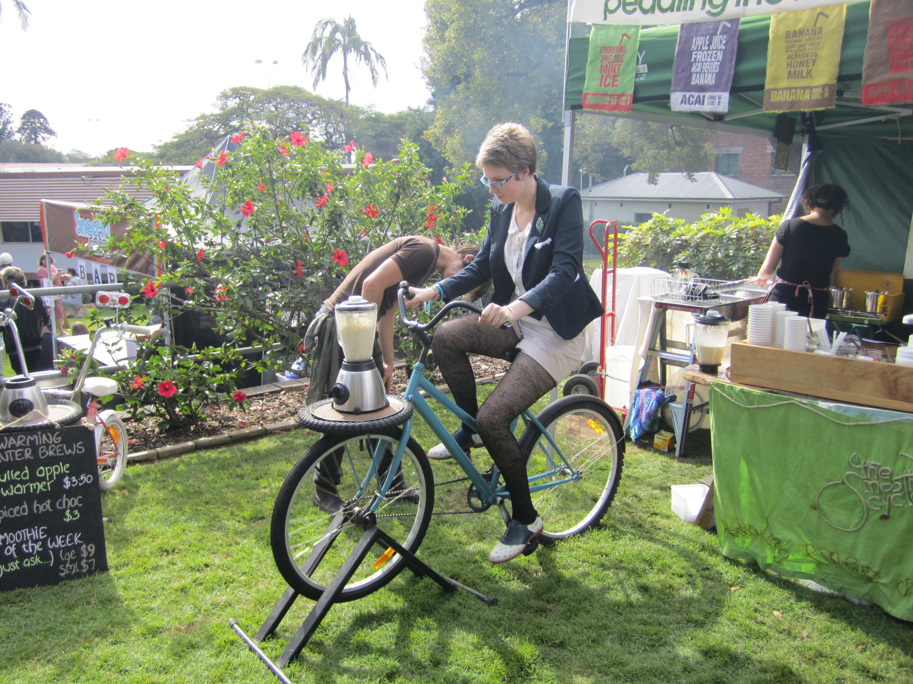 Make your own smoothie...on a bike!  This was at the Finders Keepers Markets in Brisbane in 2011