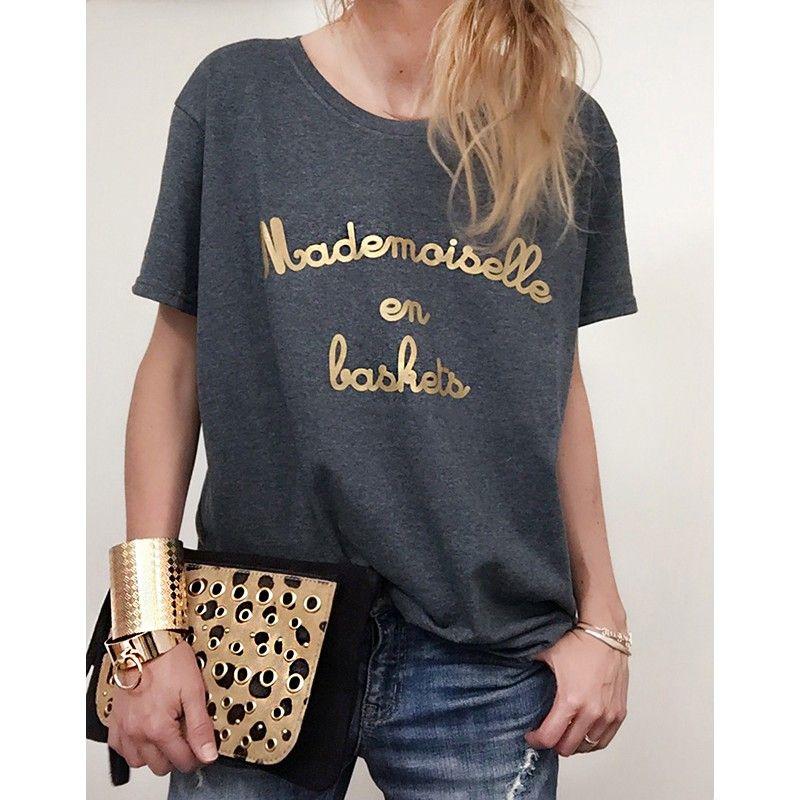4c60187b93f T-shirt Femme MADEMOISELLE EN BASKETS doré - LUXE FOR LIFE De Paris ...