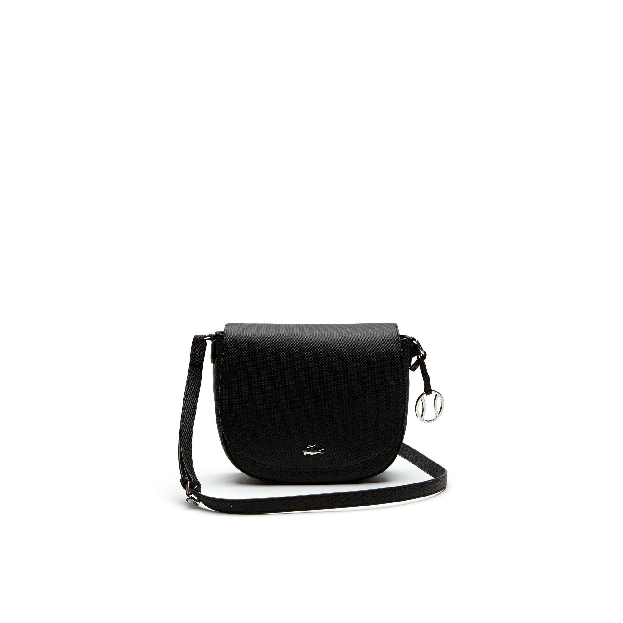 c4e828e70 LACOSTE Women s Daily Classic Fine Piqué Grains Flap Crossover Bag - black.   lacoste  bags  shoulder bags  canvas  pvc  charm  accessories