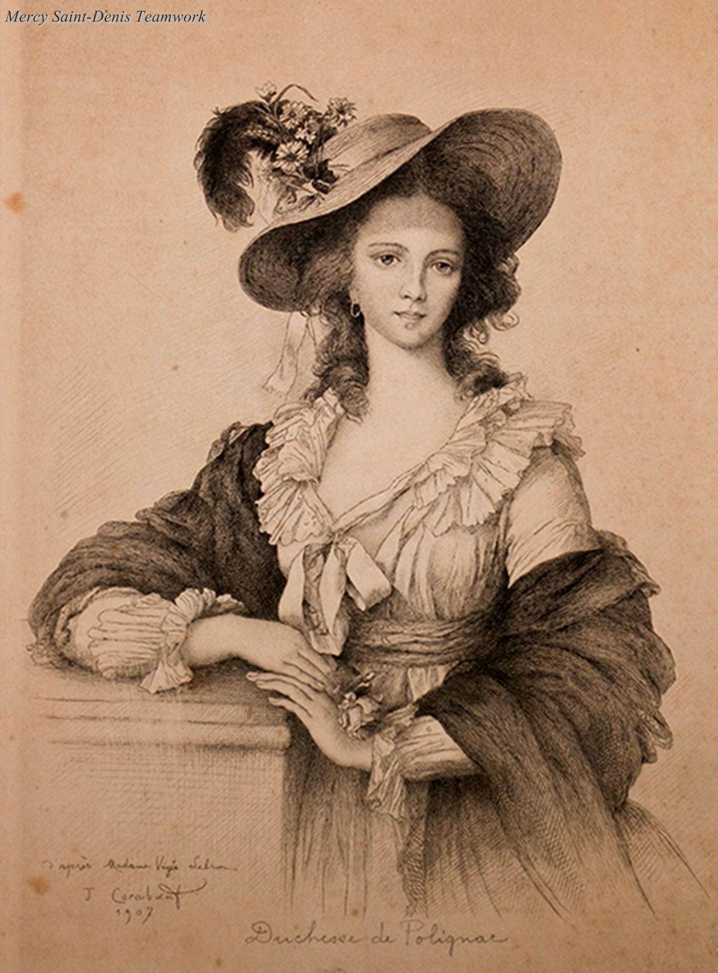 A 1907 engraving of the Duchesse de Polignac. Yolande Martine Gabrielle de  Polastron 3020ede378ac