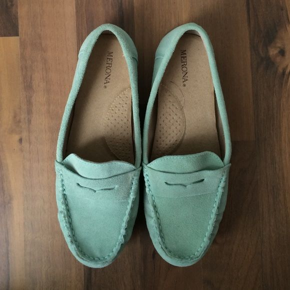 Mint suede moccasin/loafers Mint suede moccasin/loafers. Great for spring! Never worn. Merona Shoes Moccasins