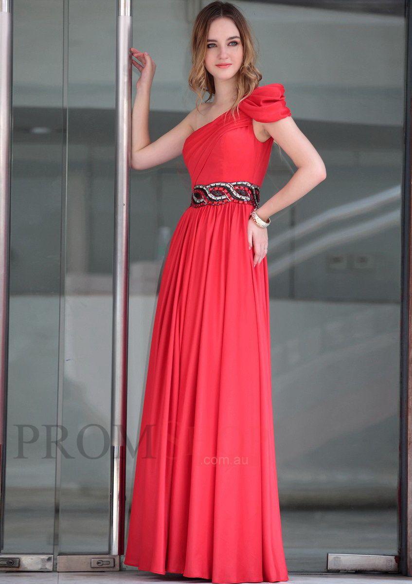 Alineprincess beading chiffon evening dresses au vestidos