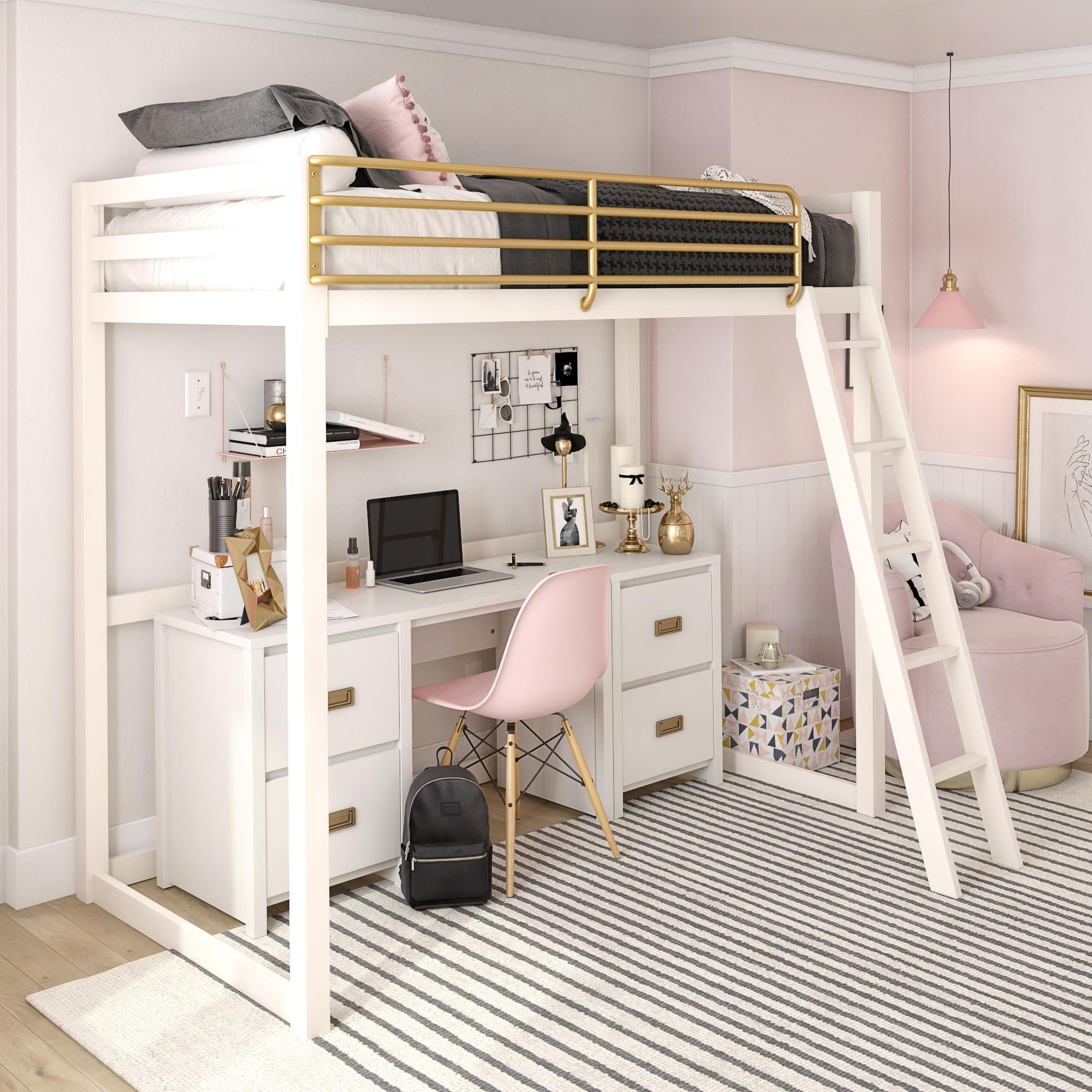 Free 2 Day Shipping Buy Little Seeds Monarch Hill Haven White And Gold Twin Metal Loft Bed At Wal Girls Loft Bed Loft Beds For Teens Loft Beds For Small Rooms