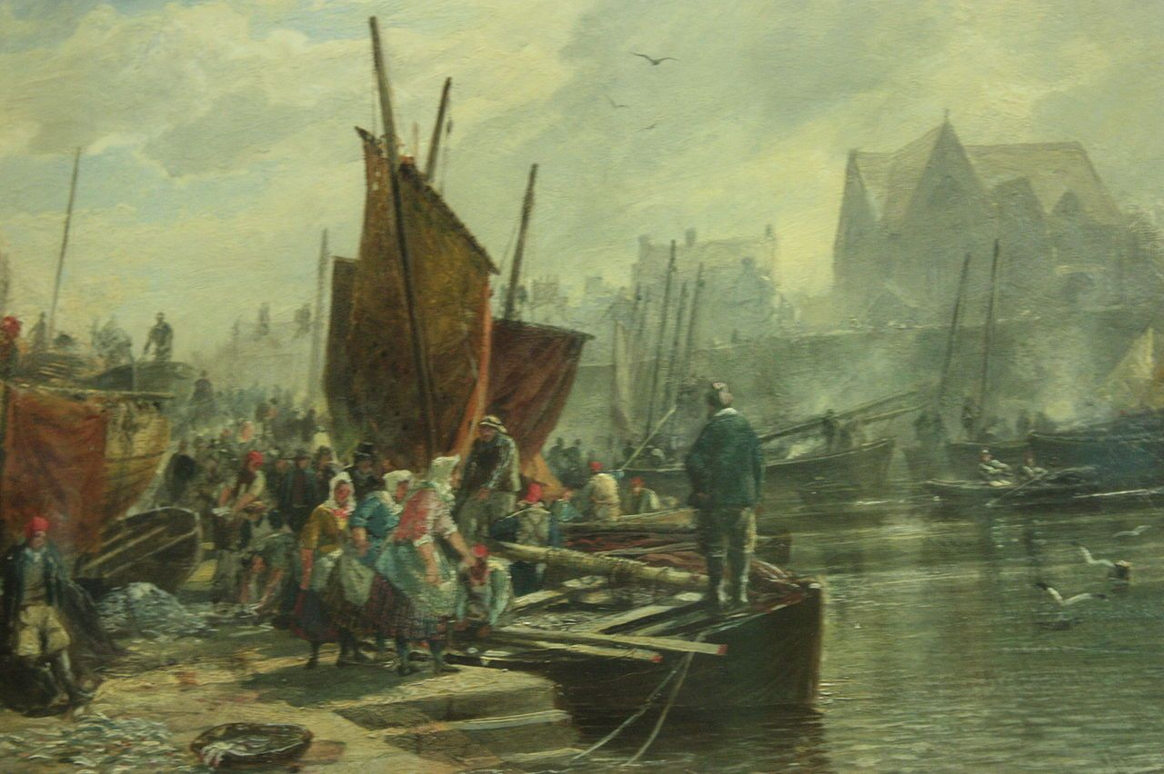 Unloading the Catch (Newhaven Harbour) by Sam Bough 1861