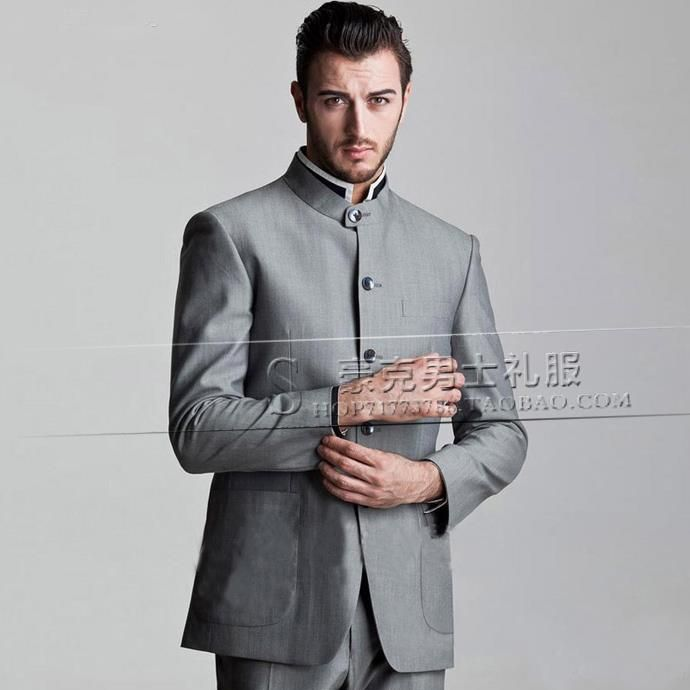 Grey stand collar new arrival slim men chinese tunic suit set pants ...