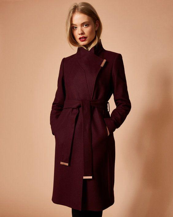 967509585 Cashmere-blend wrap front coat - Maroon
