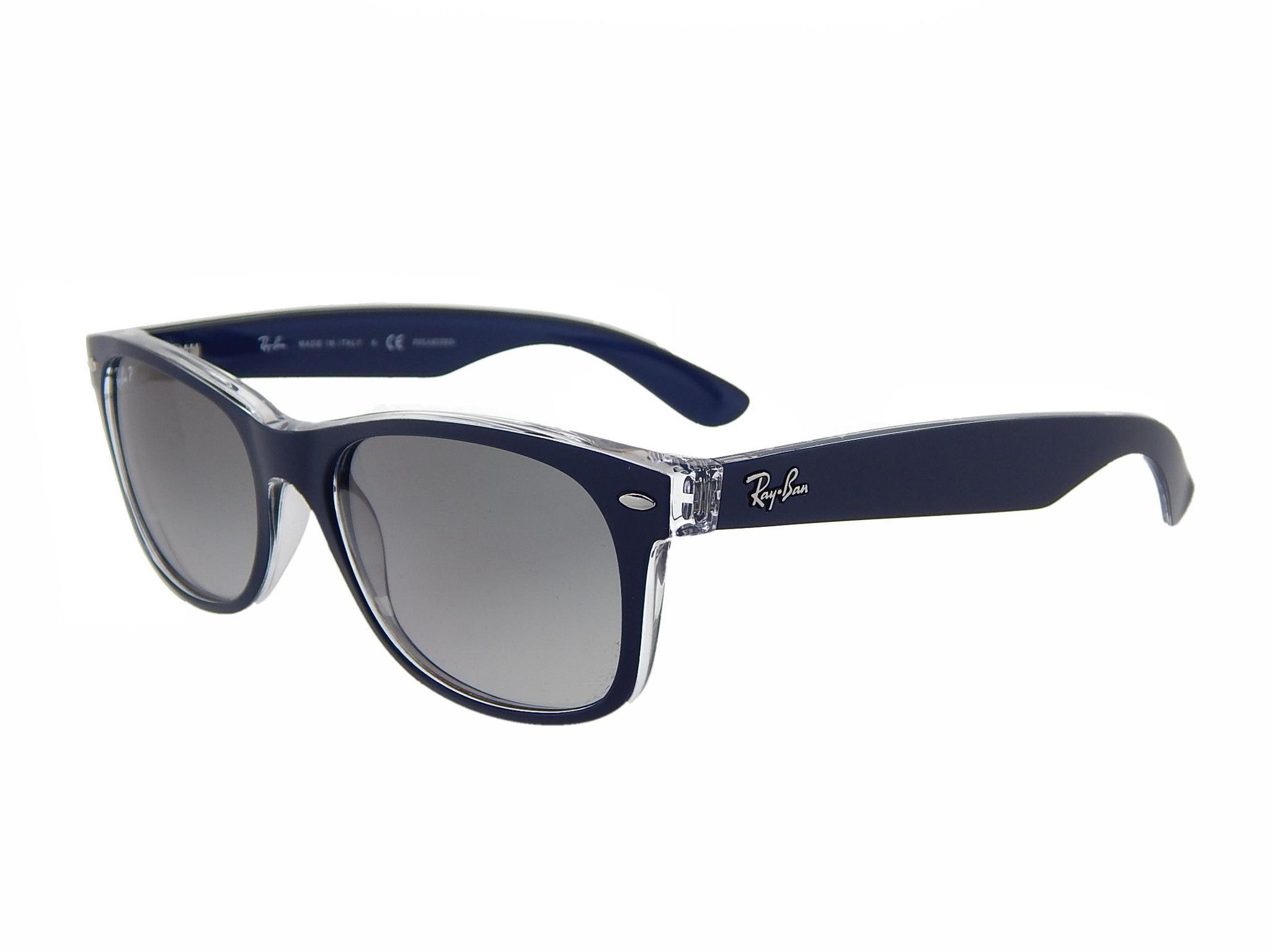 Ray-Ban Unisex Sonnenbrille New Wayfarer Polarized, Gr. 55 mm, Blau (Transparent), RB 2132 55 6053M3