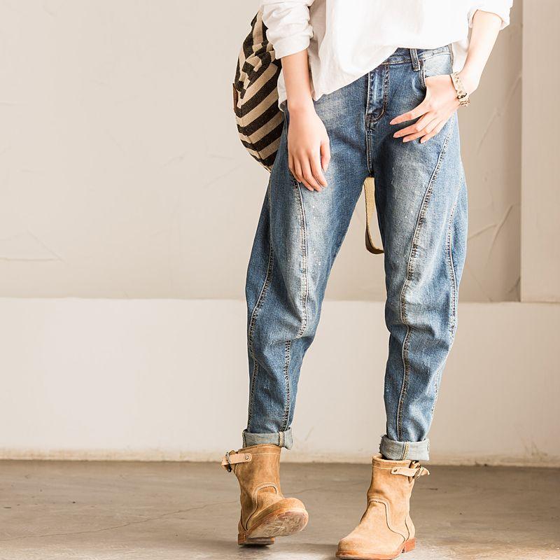 N229a three-dimensional cut arc patchwork skinny jeans female 2016