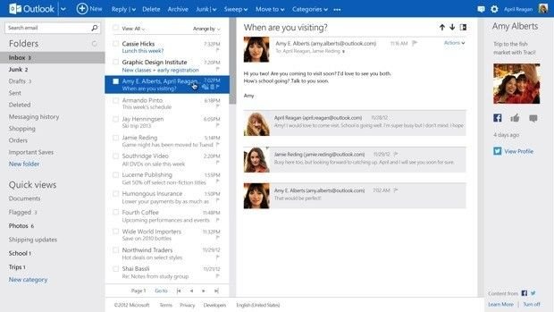 Outlook com exits preview with 60 million active users, Hotmail UI
