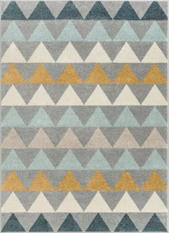 Well Woven Mystic Modern Vintage Geometric Gray Blue Yellow Area Rug In 2020 Scandinavian Rug Well Woven Grey Geometric Rug