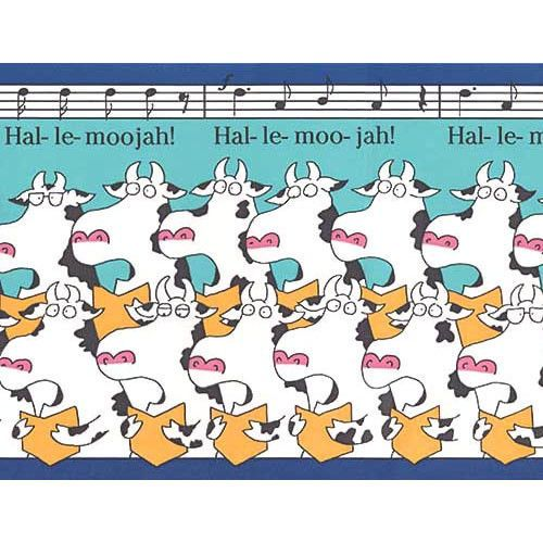 Sandra Boynton Hal-le-moojah Cow Choir Musical Singing Cows Wallpaper Border #BrewsterHomeFashions