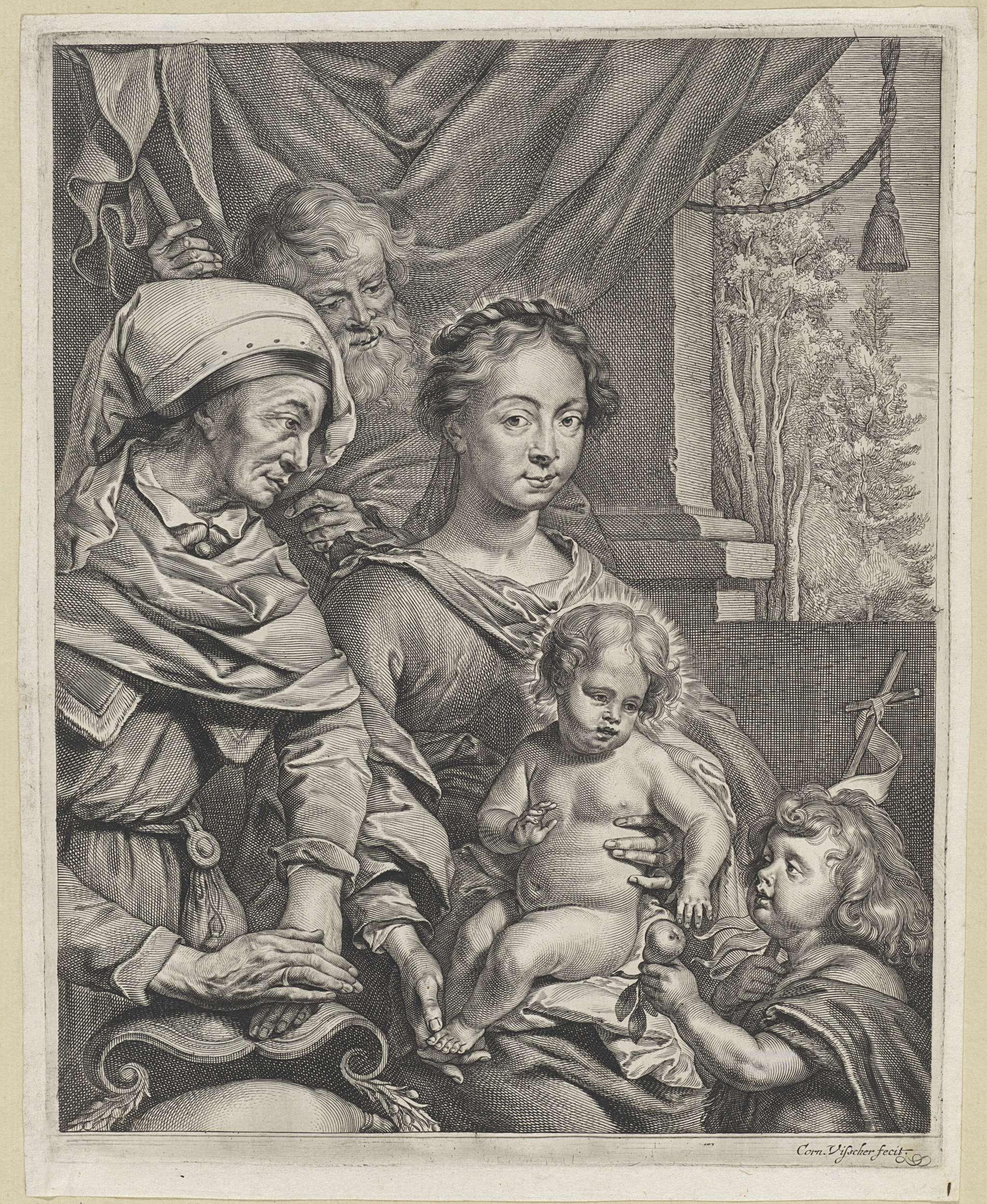 Cornelis Visscher (II) | Heilige Familie met Elisabet en Johannes, Cornelis Visscher (II), 1638 - 1658 | De heilige familie met Elisabet en Johannes de Doper als kind. Johannes, met in zijn hand een vaandel, staat voor het Christuskind en reikt hem een peer aan.