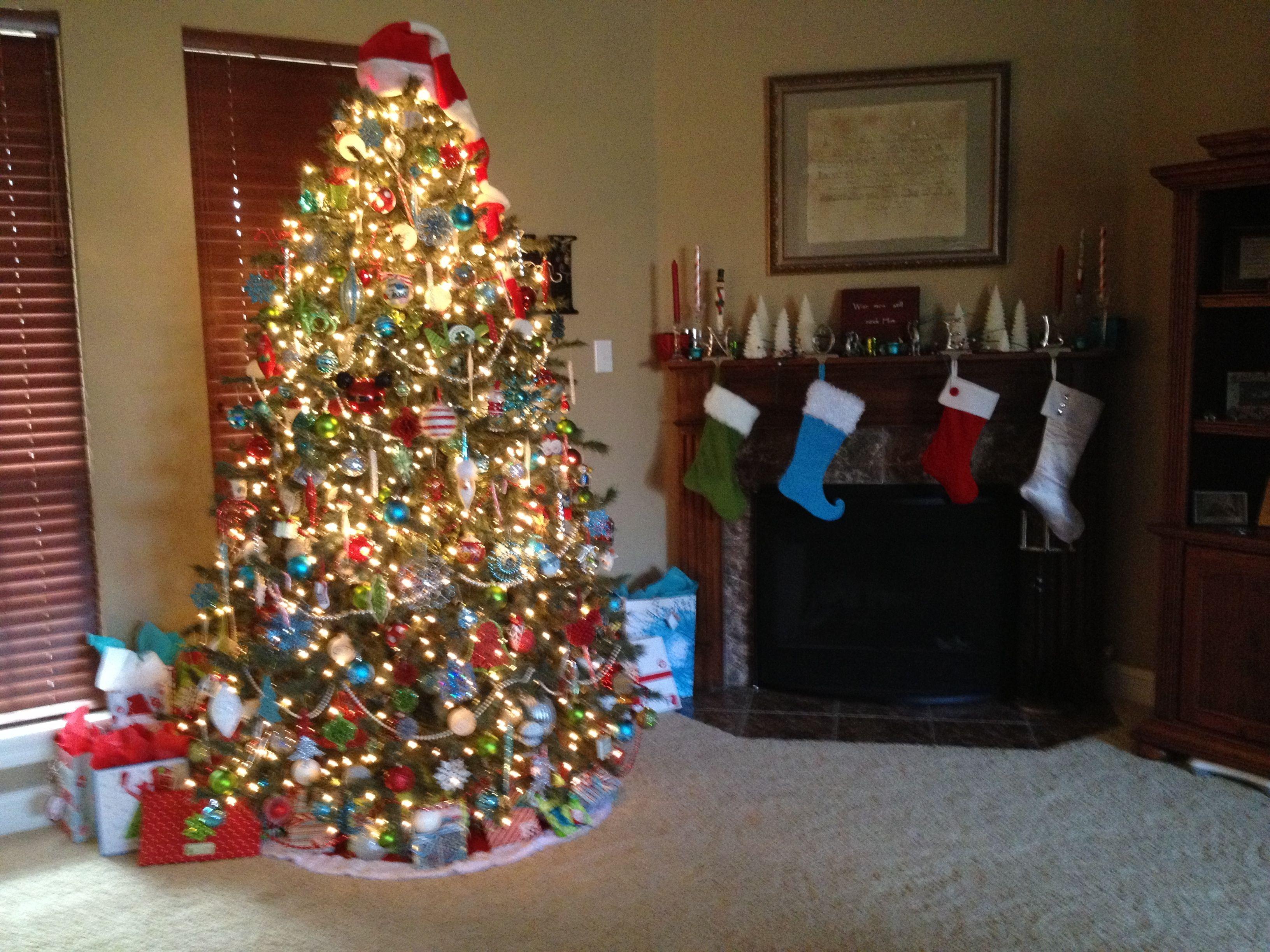 Red, Lime, And Aqua Christmas Tree