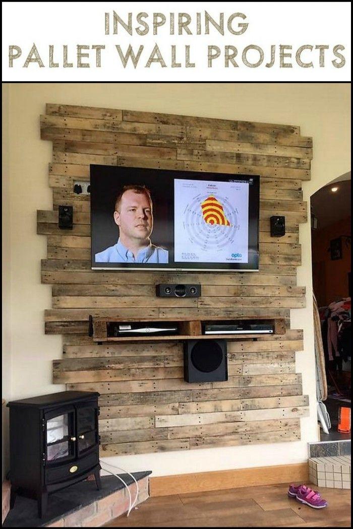 Pallet Wall Projects Bricolage Cool Meuble Tele En Palette Console De Television