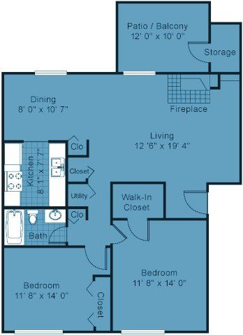 Two Bedroom Apartment Floor Plan - 900 sq.ft. of usable ...