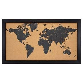 world map cork board 28x16 black target