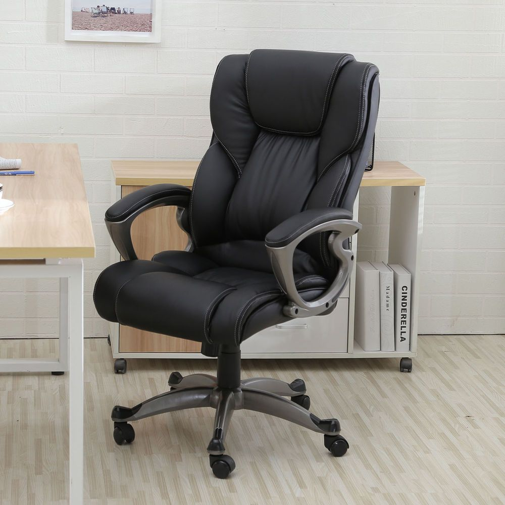 heavy duty leather office rolling computer chair black high back