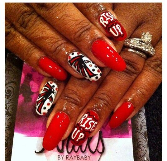 Falcons Nails Atlanta Sports Lady Cute Nail Art How