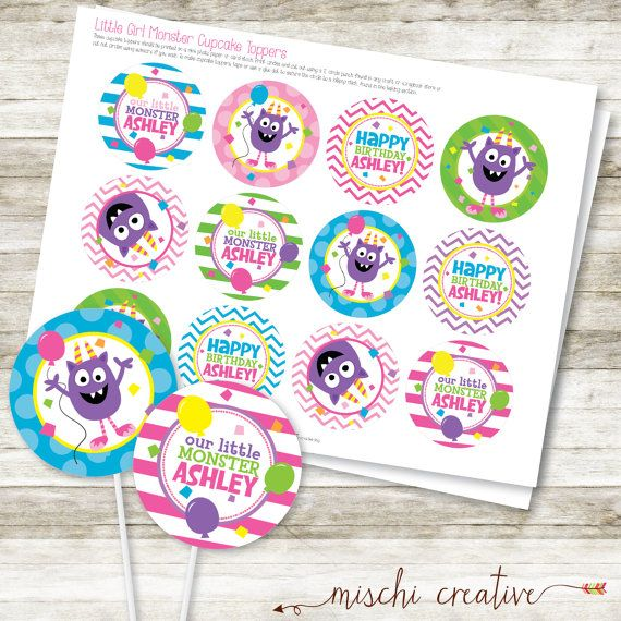 Little Girl Monster Birthday Party DIY Printable by MischiCreative