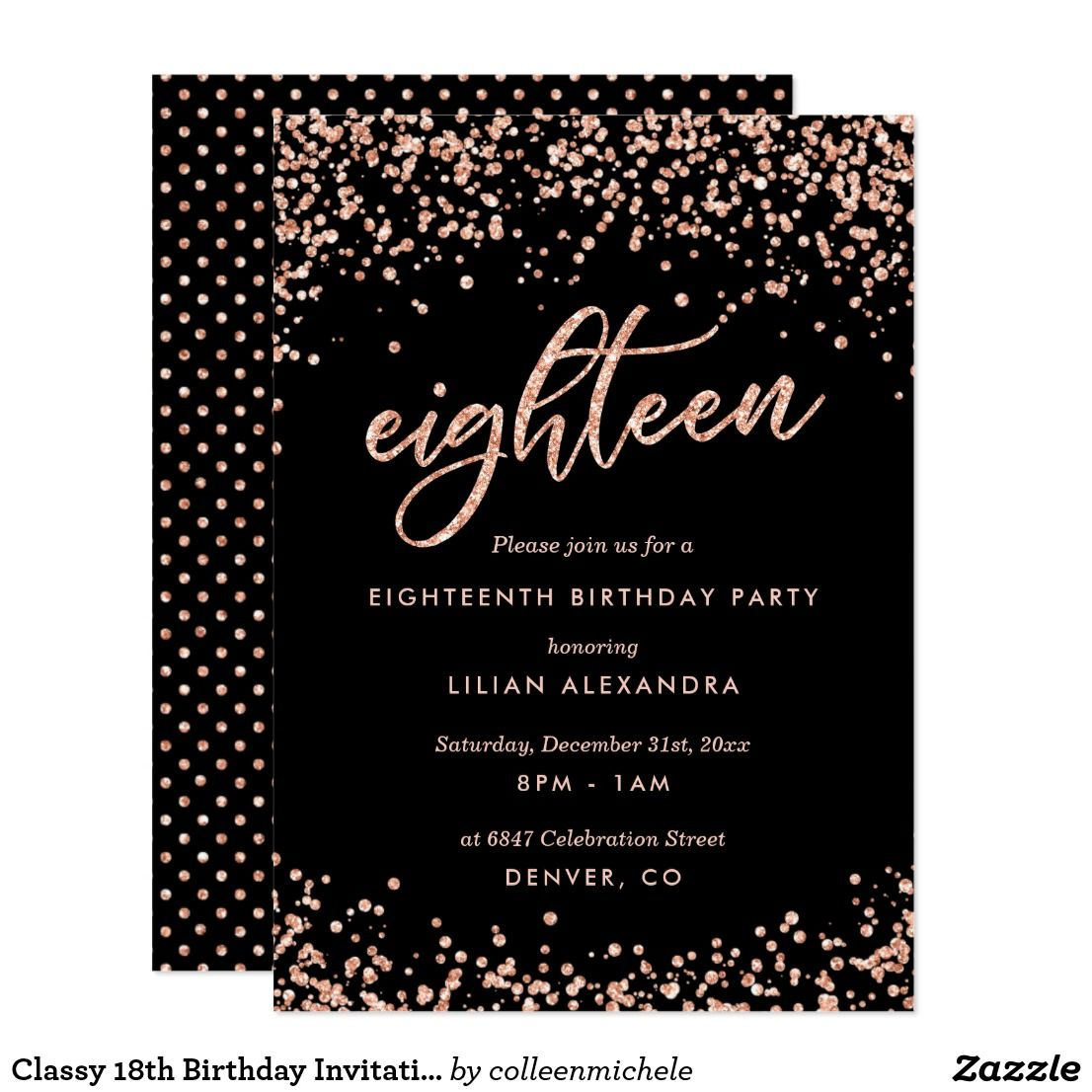 Classy 18th Birthday Invitation Rose Gold Confetti | Birthday Bash ...