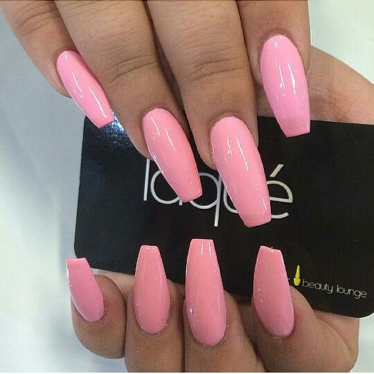 pink coffin nails gel nails