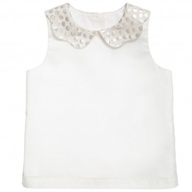 Hucklebones London Ivory and Gold Polka Dot Blouse