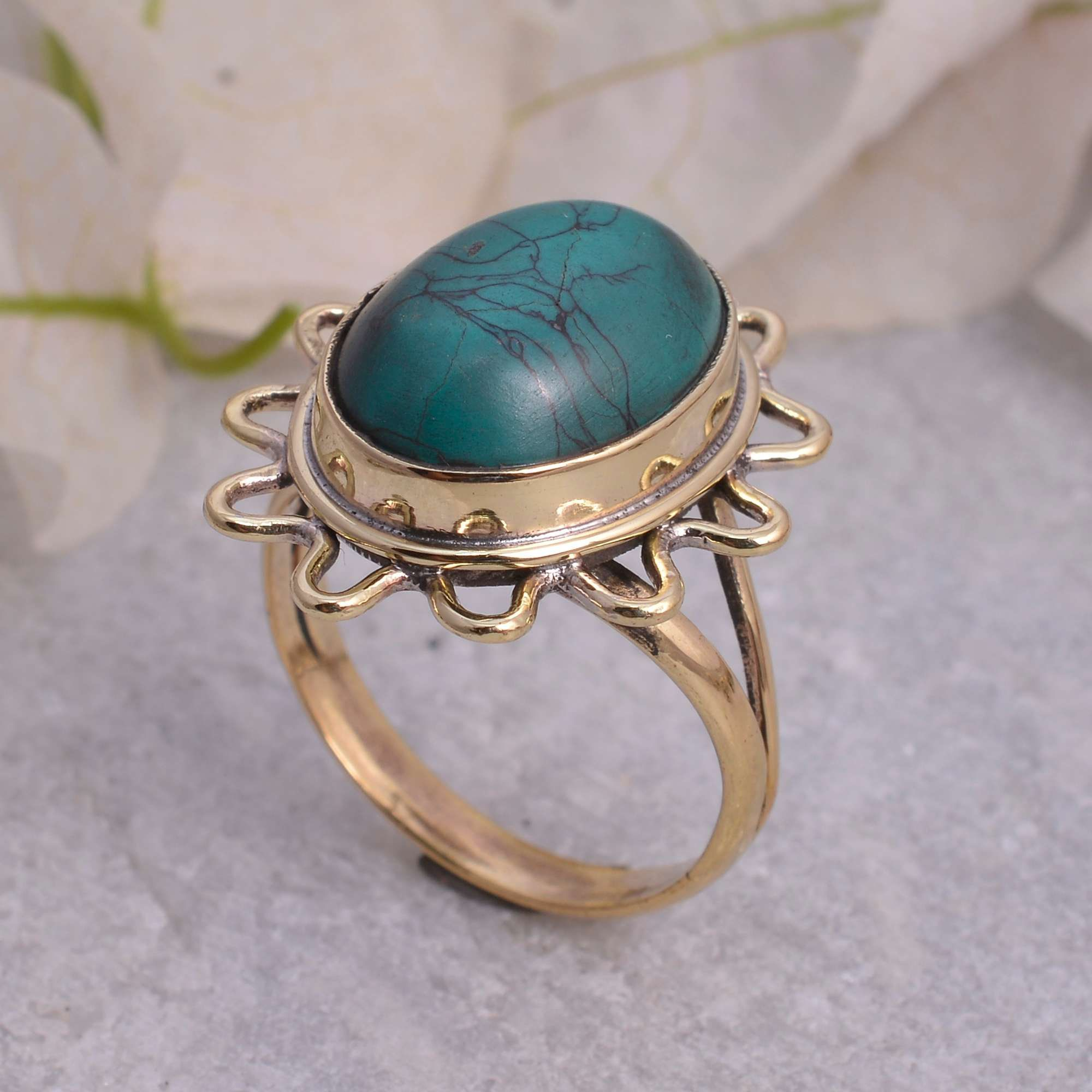 Boho Rings Sterling Silver Ring purple turquoise gemstone ring handmade rings vintage ring