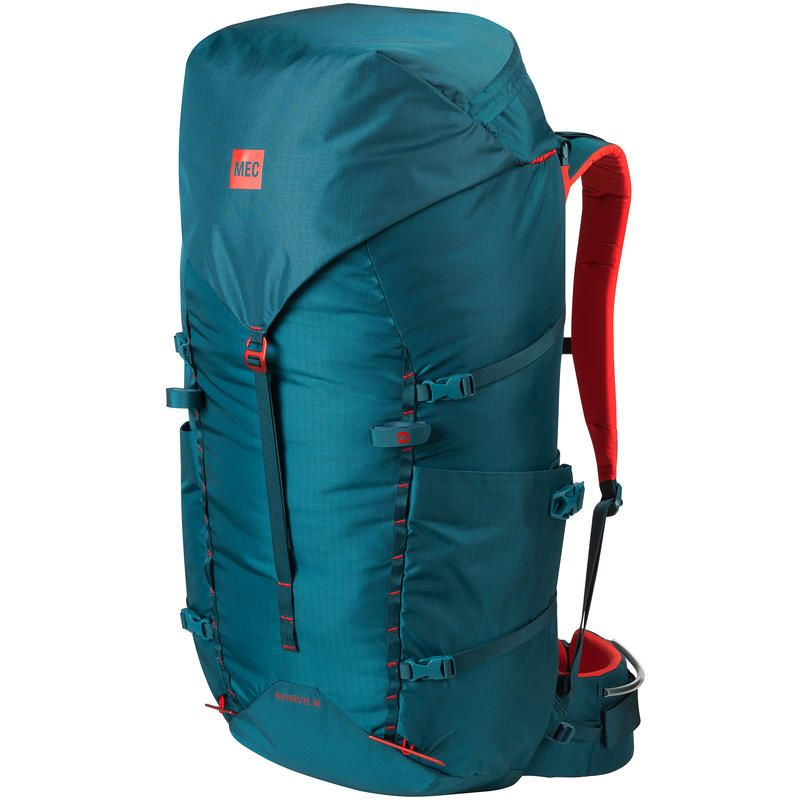AlpineLite 60 Backpack: Honed back to the essentials, the Alpinelite 60 carries big loads lightly. A skinny front-to-back profile rides close to the body and allows you to stand tall and upright