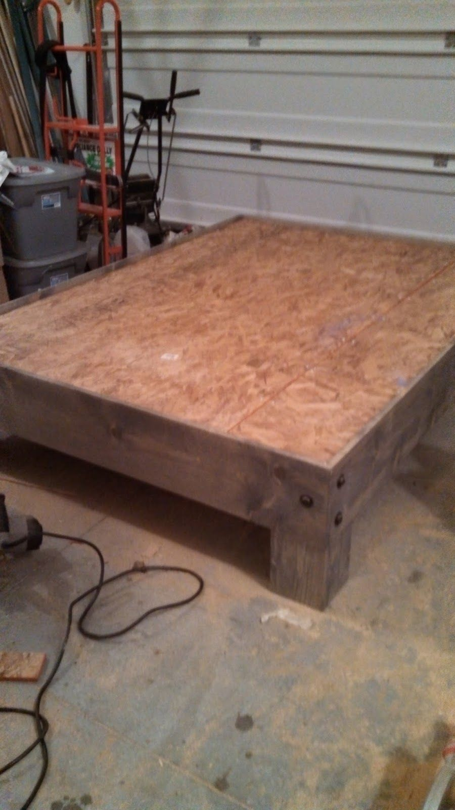 Diy wood platform bed frame diy platform bed u salvaged door headboard part three  platform