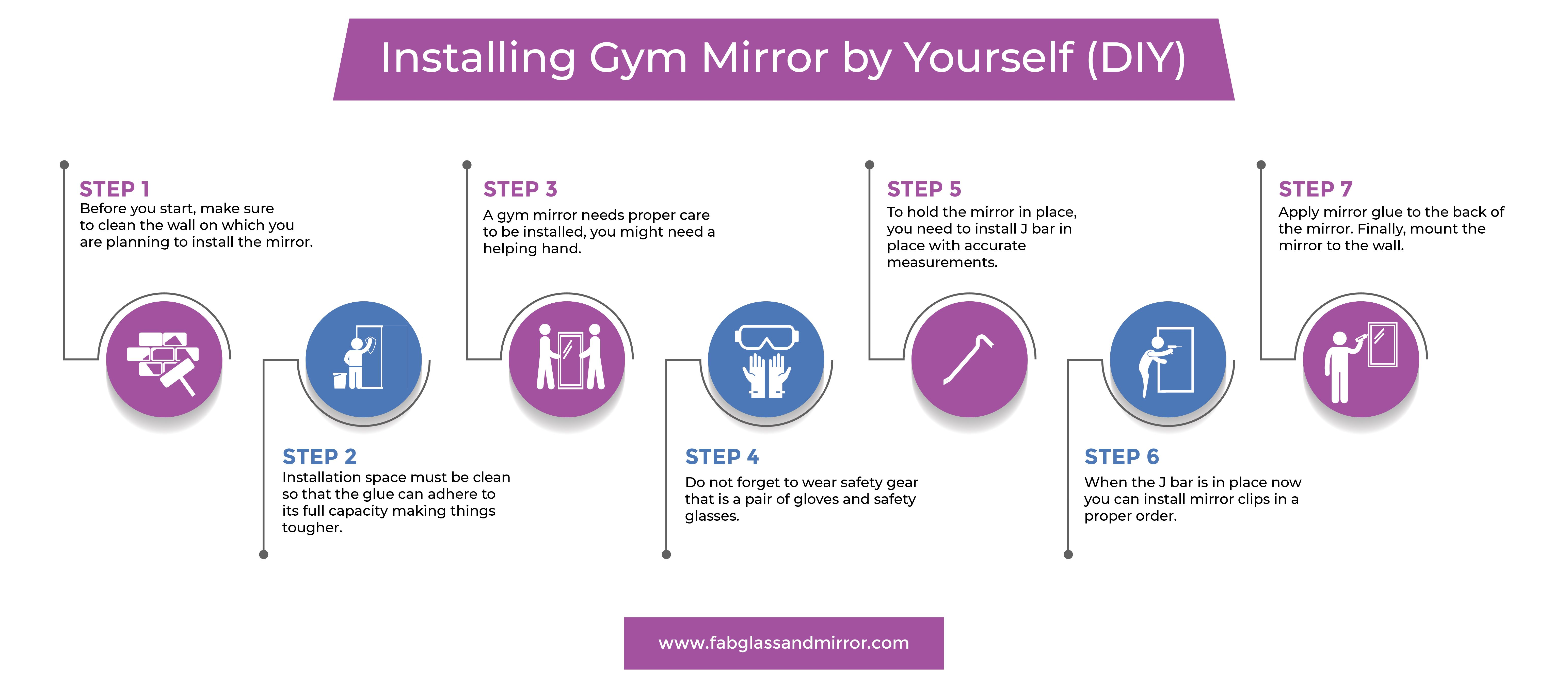Installing A Gym Mirror By Yourself Diy In 2020 Gym Mirrors Dance Mirrors Mirror Kit