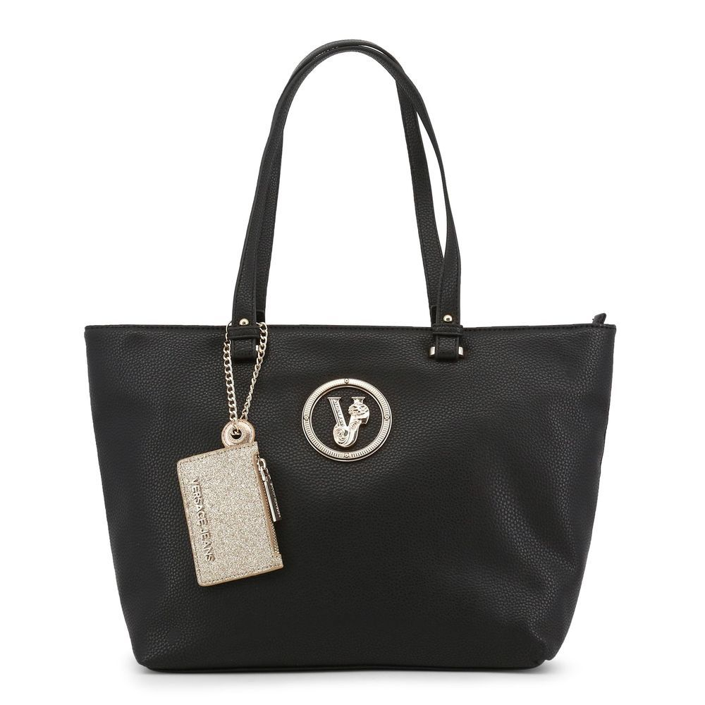 Versace Jeans Women's Black Shopping Bag Shoppers Tote Faux