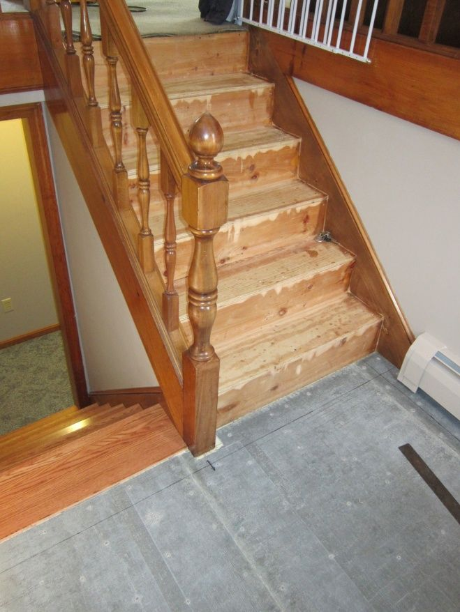 Foyer Stairs Quote : Split level foyer from carpet to hard wood treads tile