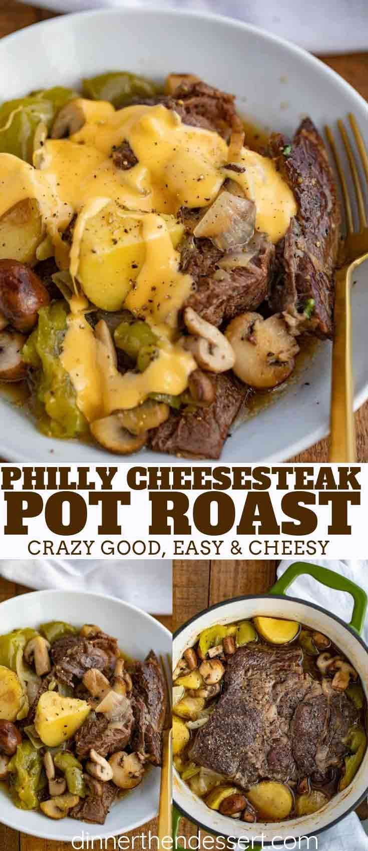 Philly Cheesesteak Pot Roast with the classic flavors of a Philly cheesesteak and the tender fall apart texture of a pot roast with buttery yukon potatoes and a rich beef gravy topped with a melted cheese sauce. Your new favorite pot roast. #phillycheesesteak #potroast #beef #dinner #onepot #cheese #cheesy #cheesesteak #dinnerthendessert #fallrecipesdinner