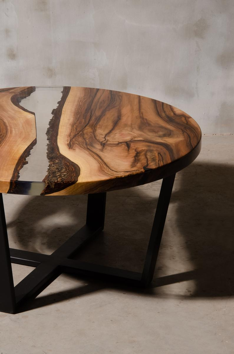 Custom Round Epoxy Table Made Of Walnut Uv Resin Table With Steel Legs Live Edge Table River Table Live Edge Coffee Table To Office Coffee Table Live Edge Coffee Table Resin [ 1199 x 794 Pixel ]