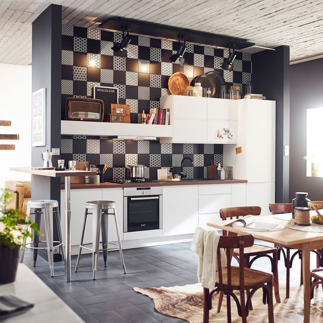 Relooking Cuisine Idées Bluffantes Et Rapides Relooking - Carreau de ciment mural cuisine pour idees de deco de cuisine