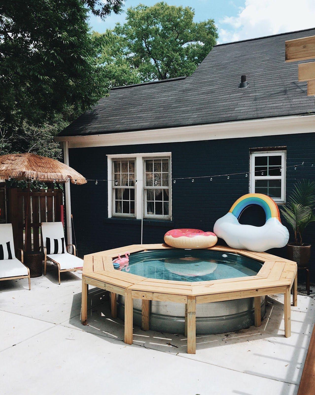 Diy stock tank pool bench in 2020 hot tub backyard