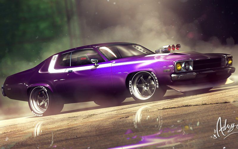 Wallpaper Plymouth Road Runner Muscle Car Art With Images