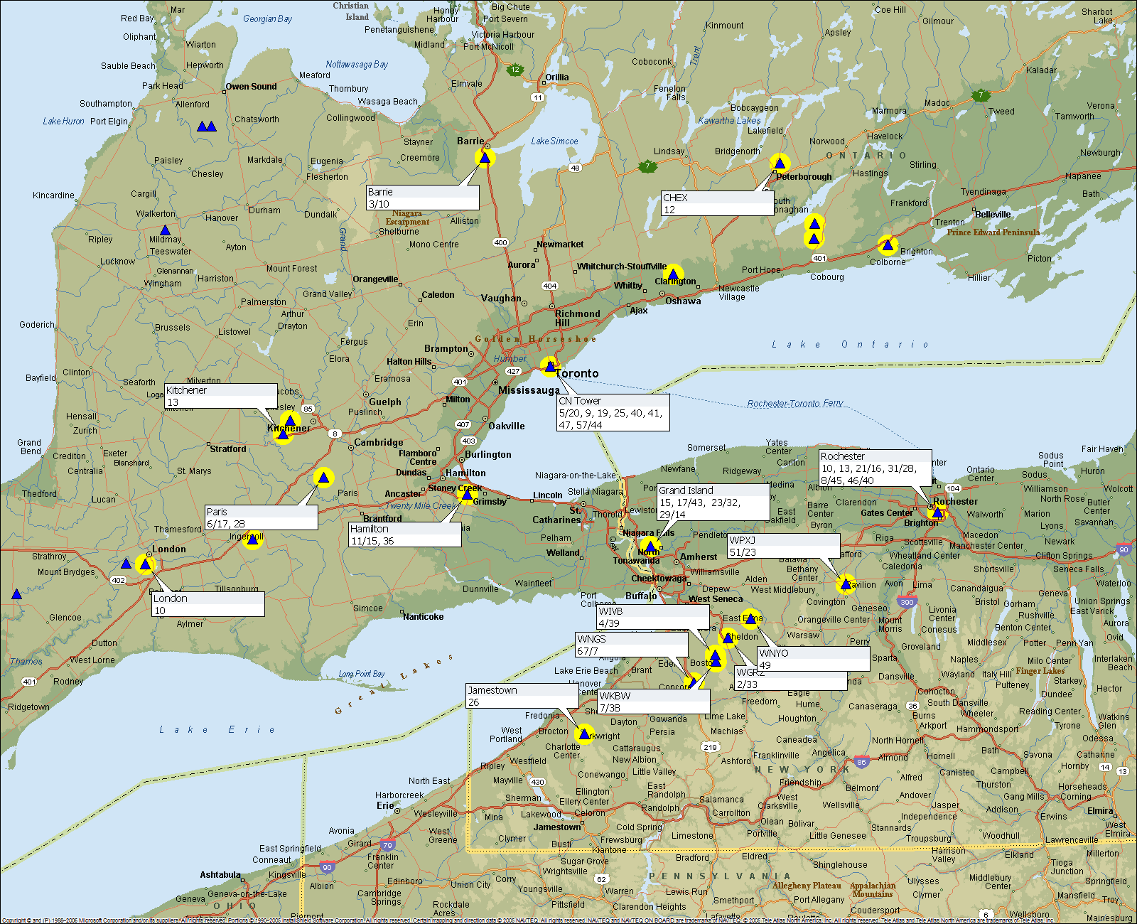 Toronto GTA Buffalo towers MAP of OTA Over the air channels available for free tv