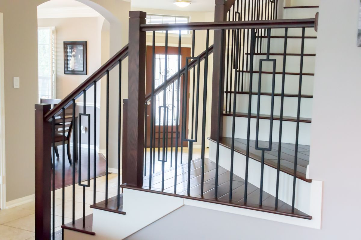 This Staircase Uses High Quality Wrought Iron Balusters To   Modern Metal Stair Spindles