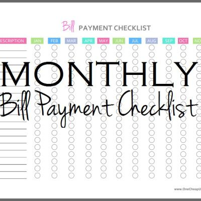 Monthly Bill Pay Checklist - Stop Missing Your Due Dates