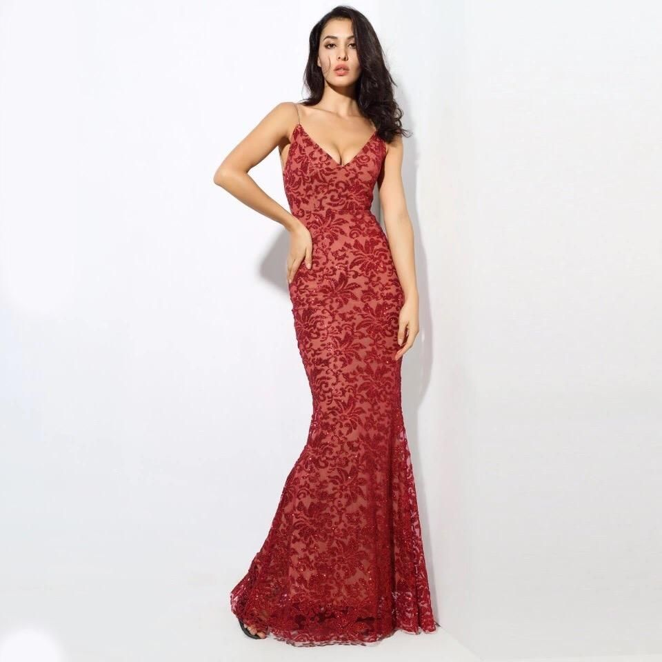 Sweet delight red glitter plunge maxi gown dress maxi gowns