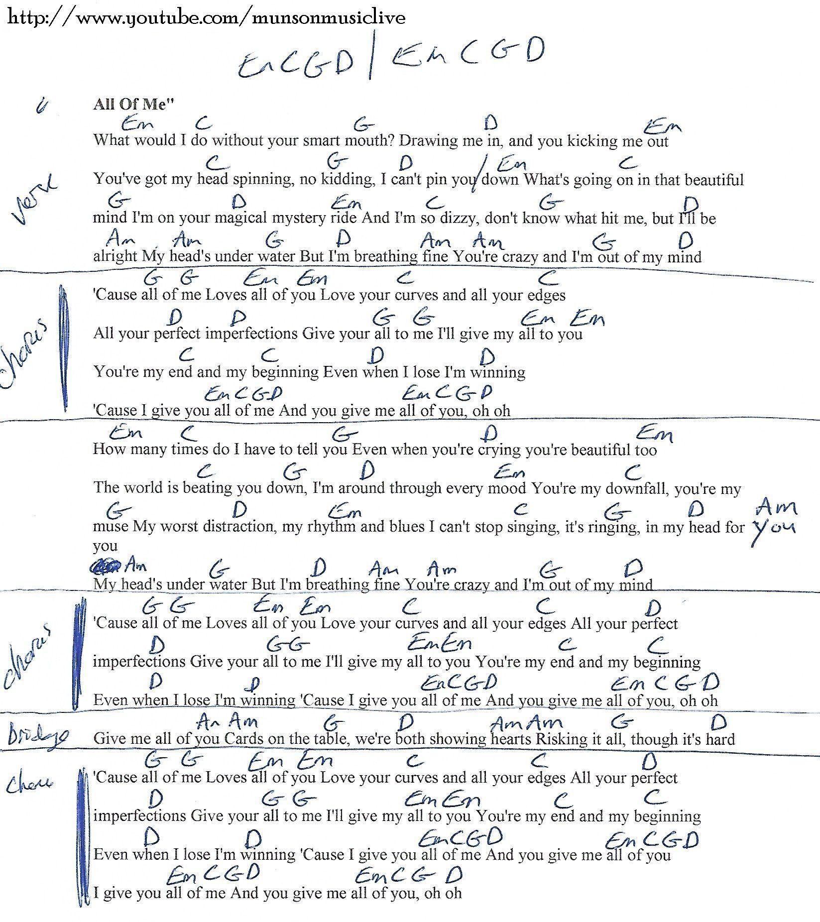 All Of Me John Legend Guitar Chord Chart Bassguitarlessons