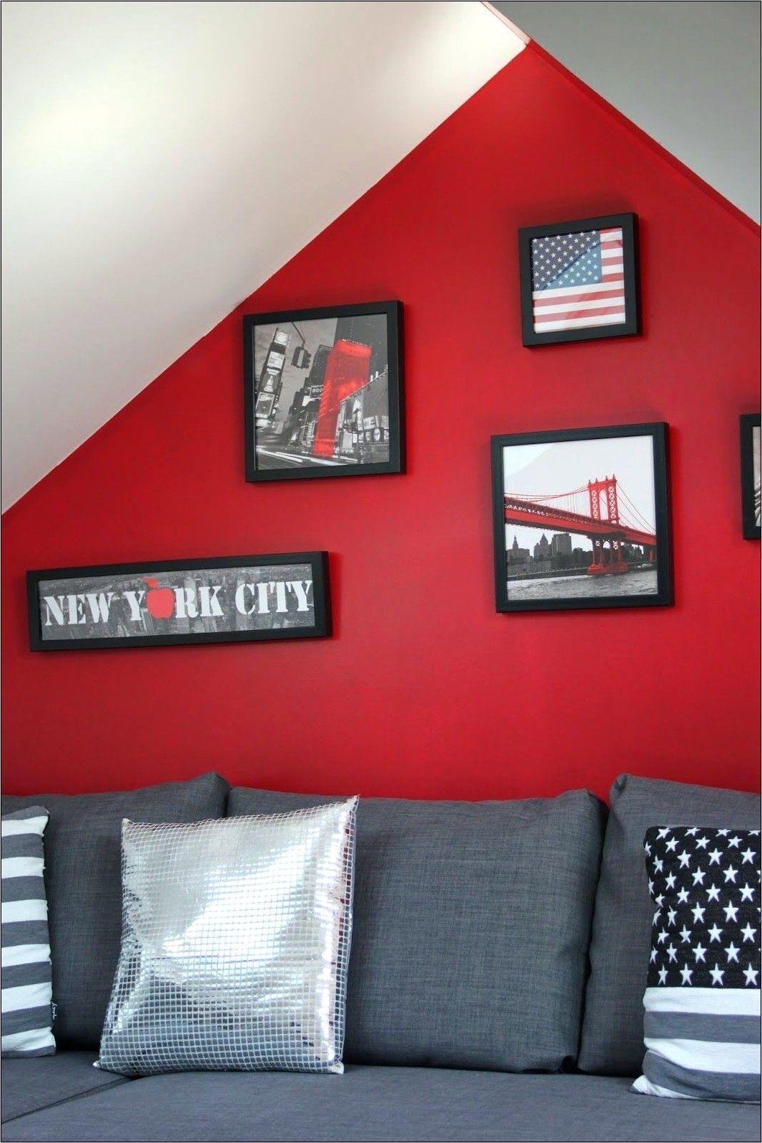 Deco Chambre Ado Bleu Rouge Usa New York en 19  Deco chambre