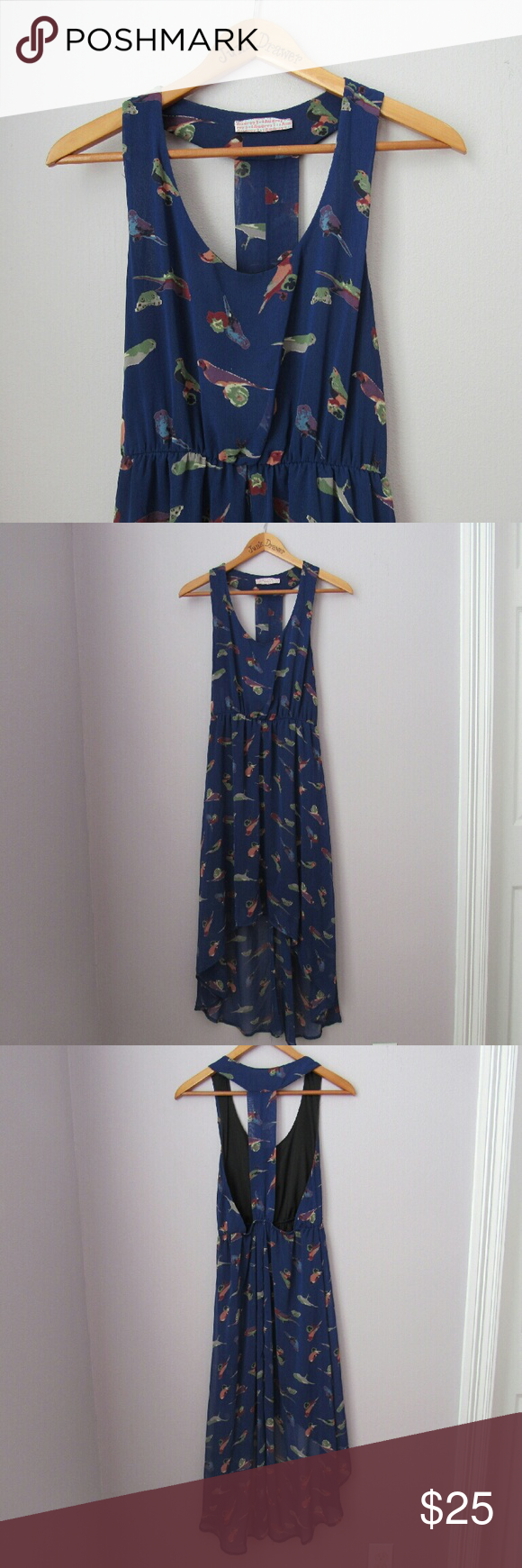 """Bird Print High Low Maxi So fun and unique! Colorful birds in a blue background. Slightly high low. Poly. Bust 15"""". Legnth 36 and 49"""" front and back. Elastic waist.   Bundle for best deals! Hundreds of items available for discounted bundles! You can get lots of items for a low price and one shipping fee!  Follow on IG: @the.junk.drawer Audrey 3+1 Dresses High Low"""