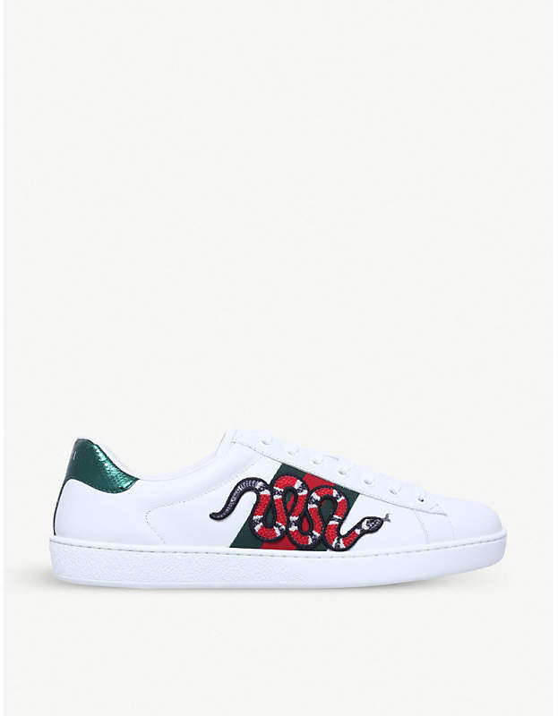 ea1a7e850 Gucci New Ace embroidered-snake leather trainers in 2019 | Products ...