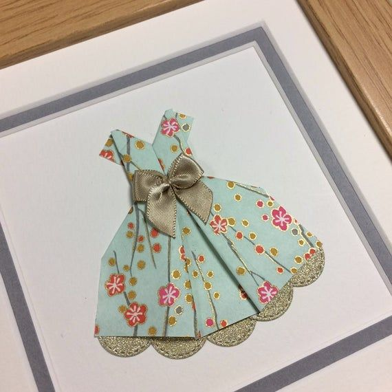 Photo of Origami dress art, Chiyogami paper, framed origami paper dress, Yuzen paper, gift for girls, Mother's day gift, christening, naming day gift